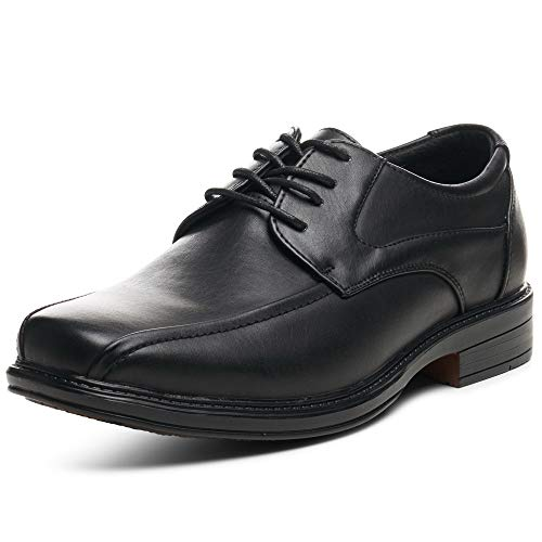 alpine swiss Men's S701 Dress Shoes Leather Lined Lace up Oxfords Baseball Stitched, Black, 12