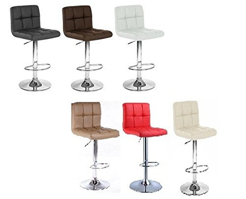 Flash Furniture 2 Pk Contemporary Brown Quilted Vinyl Adjustable Height Barstool With Chrome
