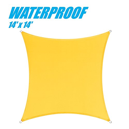 ColourTree 100 Blockage Waterproof 14 x 14 Sun Shade Sail Canopy Square – Commercial Standard Heavy Duty – 220 GSM – 4 Years Warranty 1, Yellow