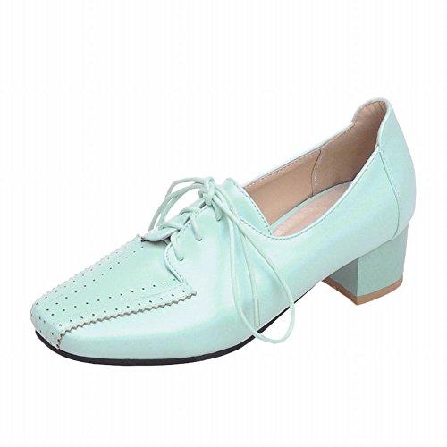 Latasa Moda Para Mujer Square-punta Con Cordones Mid Chunky Heel Oxford Zapatos Cyan
