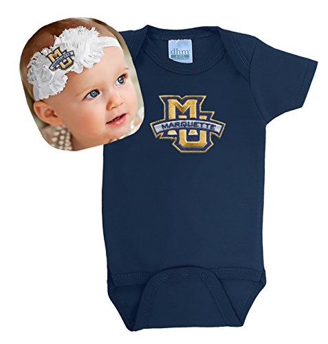 Future Tailgater Marquette Golden Eagles Baby Onesie and Shabby Bow Headband  Set. ff23f554923