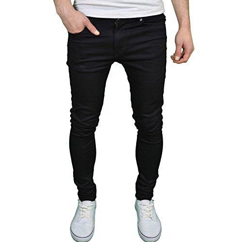 Enzo Mens Designer Branded Super Stretch Skinny Fit Jeans,Black,30W x 30L