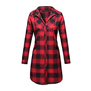 OMEYA.WANSHIDA.Women Long Sleeve Button Up Plaid Flannel Shirt Jacket (X-Large, F040-red)