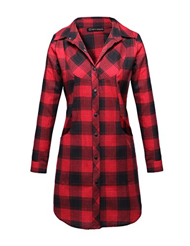 Button Up Plaid Flannel Shirt Jacket