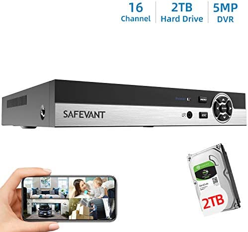 SAFEVANT 5MP Super HD 16 Channel Hybrid 5-in-1 DVR NVR Security Video Recorder with 2TB Hard Drive Build in, Supports Analog and ONVIF IP Cameras Cameras Not Included
