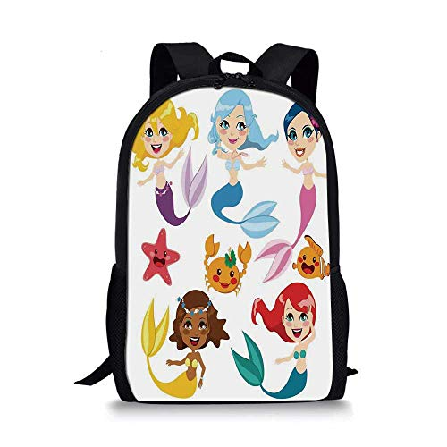 Mermaid Decor Stylish School Bag,Collection of Cute Colorful Mermaids and Sea Friends Kids Cheering Joyful for Boys,11''L x 5''W x 17''H