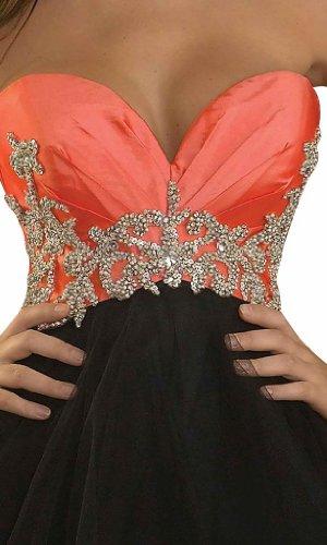 Orange Ausschnitt BRIDE Schwarz Kleid Homecoming GEORGE Reizvolle Partykleid Cocktailkleid und Herzfoermiger 4qW8wxp
