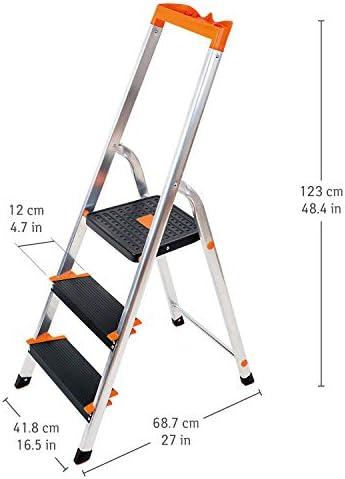 Tatkraft Master Escalera Plegable Hecha de Aluminio, de 3 Peldaños con Bandeja de Herramientas, TÜV Probado, Plataforma de Seguridad 27x28 cm, Escalones Antideslizantes, Soporta hasta 150 kg: Amazon.es: Hogar