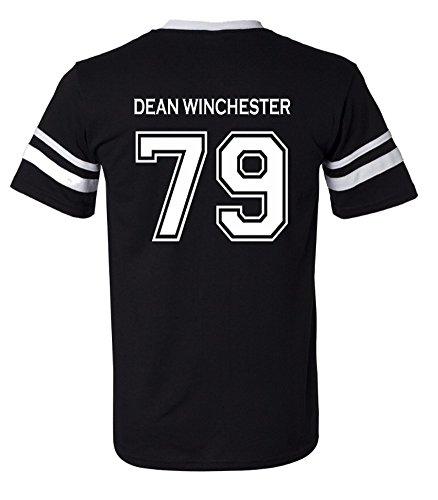 Adult Supernatural Dean Winchester 79 Jersey (Large, Black)