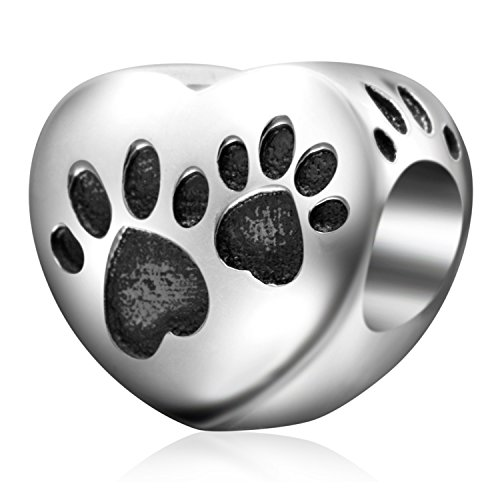 Dog Zable Bead - Love Heart Puppy Dog Paw Print 925 Sterling Silver Charms Animal Pet Bead for Bracelets(D)