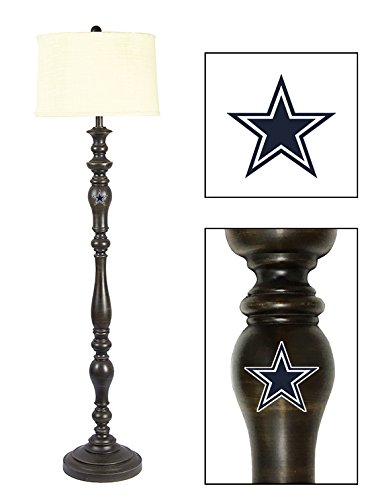 New Item! Espresso/Cappuccino Color Wood Floor Lamp Featuring Your Favorite Football Team Logo – FREE LED BULB INCLUDED (Cowboys) (Cowboys Dorm Lamp)