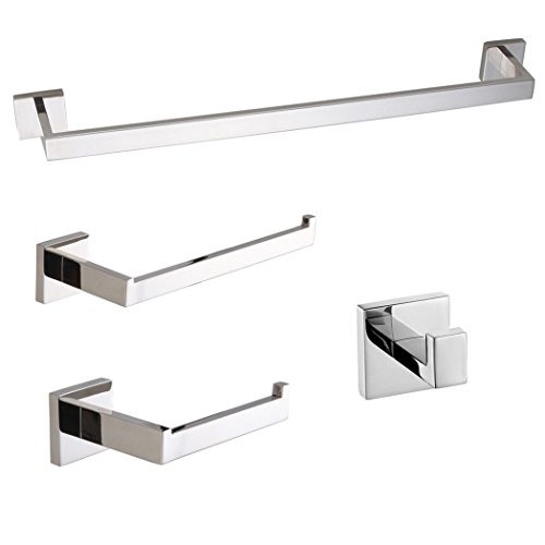 Turs Contemporary 4-Piece Bathroom Hardware Set Towel Hook Towel Bar Toilet Paper Holder Tower Holder, SUS 304 Stainless Steel Wall Mounted, Polished (Paper Set Square Holder Toilet)