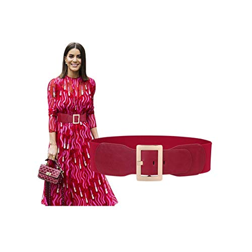 Wide Elastic Stretch Red Belts For Women Fashion Retro Ladies Cinch Waist Belt For Dress With Golden Metal Pin Buckle