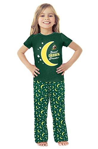 - Cheekie Peach NCAA Oregon Ducks Girls Infant Moon Pajama Set, 12-18 Months, Green