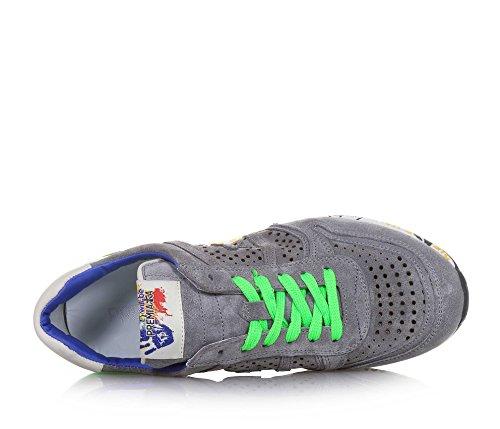 PREMIATA - Grauer Schuh mit Schnürsenkeln, aus Wildleder, durchgebohrt, auf der Zunge ein Logo, Unisex Kinder, Mädchen, Jungen