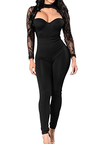 [VamJump Women Sexy Halter Lace High Waist Fitted Jumpsuits Rompers Black XL] (Sexy Jumpsuits For Women)
