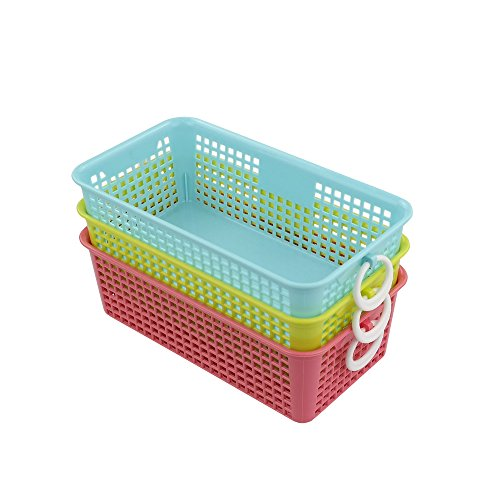 Kekow Plastic Countertop Storage Baskets Organizer, Pack of 3 (Plastic Baskets For Storage)