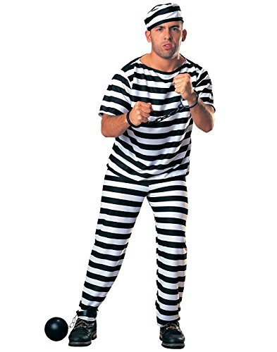 White House Halloween Costume (Rubie's Costume Haunted House Collection Prisoner Man Costume, Black/White, One Size)
