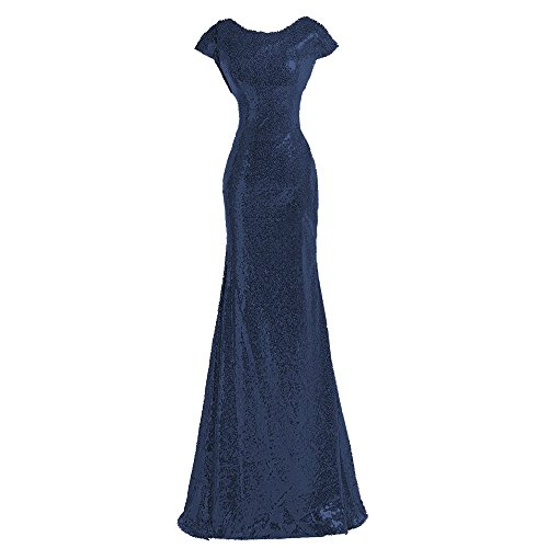 Custom Made Gowns - Sparkly Dark Navy Sequin Bridesmaid Dresses Cowl Back Modest Mermaid Gowns,custom made,Dark Navy