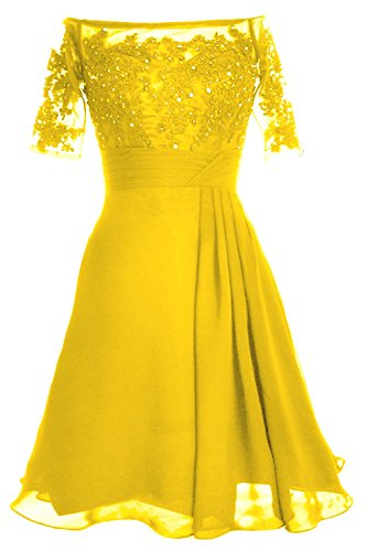 MACloth Women Off Shoulder Mother of Bride Dress with Sleeve Midi Cocktail Dress Amarillo