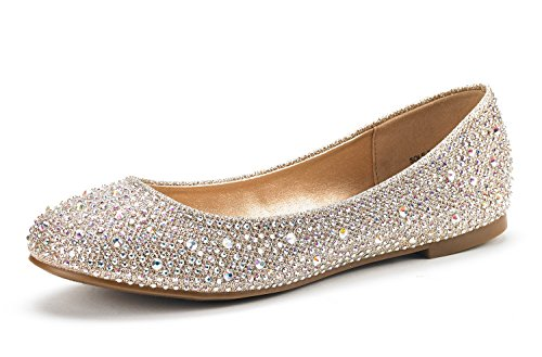 DREAM PAIRS Women's Sole-Shine Gold Rhinestone Ballet Flats Shoes - 9.5 M US