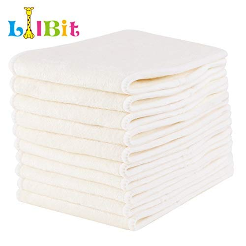 WoWa 12 PCS Natures Cloth Diaper Inserts,4 Layers Viscose from Bamboo Inserts,Super Water Absorben (4-Layers Bamboo)