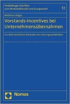 Book Vorstands-Incentives bei Unternehmensübernahmen