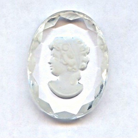 CRYSTAL 40X30MM OVAL LADY HEAD CARVED INTAGLIOS - Lot of 12 (Carved Intaglio)