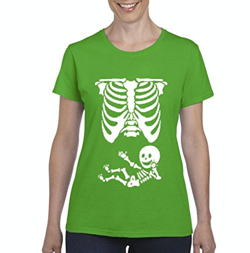 (Xekia Pregnant Skeleton with Baby Halloween Fashion Party People BFF Couples Gifts Women's T-shirt Tee Clothes Small Irish)