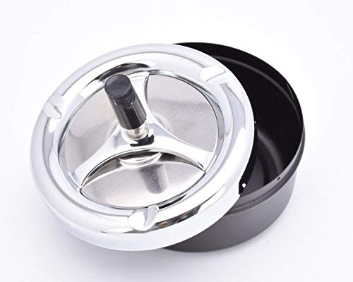 (Ace Select Round Push Down Ashtray with Spinning Tray Cigarette Ash Tray 13 cm - Black Home Ashtray - Ideal Gift for Valentine's Day)