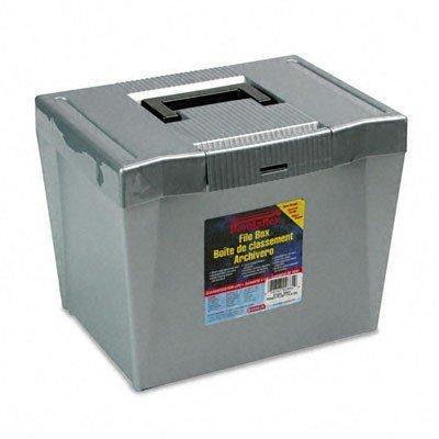 Pendaflex 20862 Portable Letter Size Hanging File Box, 13-7/8w x 10-3/4d x 10-1/4, Steel Gray