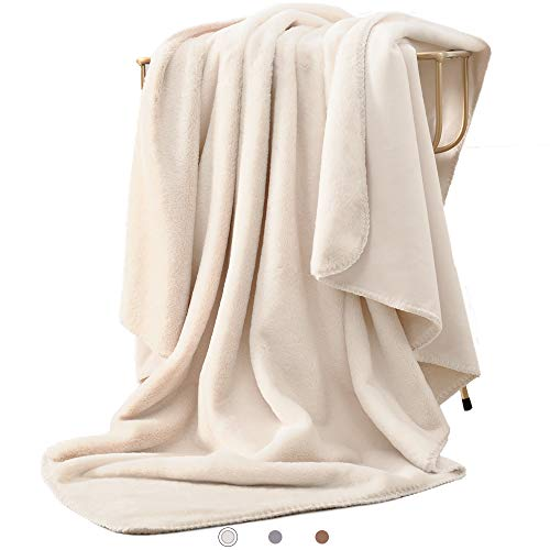Kawahoney Luxury Rabbit Faux Fur Blanket Lvory White Throw Size Super Soft Warm Cozy Fluffy Fuzzy Thick Lightweight Hypoallergenic Double Side Microsuede Blanket for Couch Bed Sofa ()