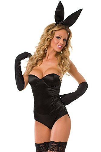 Velvet Kitten Sexy Black Classic Bunny Costume Playboy Bunny Bedroom Costume (Small, Black)