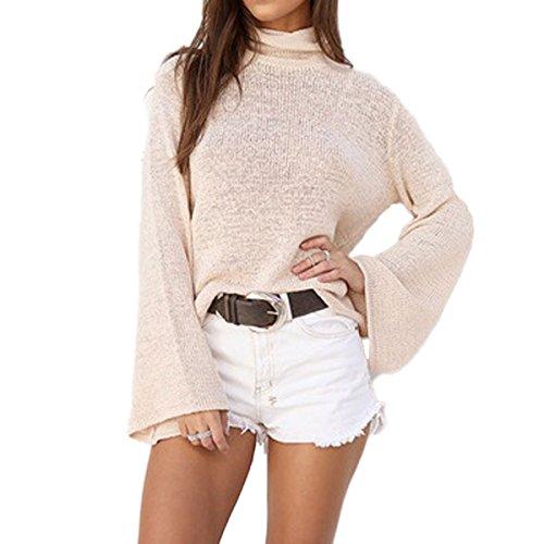 Flare Turtleneck (LANMWORN Women Backless Back Drawstring Crisscross Turtleneck Flare Bell Sleeve Sweater,Knitwear Tops Pullover)