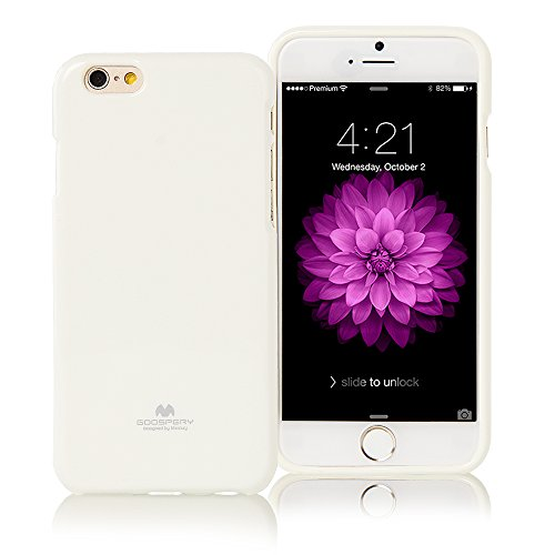 """iPhone 6 PLUS Case, [Ultra Slim] Goospery® Color Pearl Jelly [Slight Pearl Glittery Sheen] Case *Anti-Yellowing + Anti-Discoloring Finish* Premium TPU [Shock Absorption] Cover without Apple Logo Cutout for Apple iPhone 6 PLUS [5.5""""] - White"""