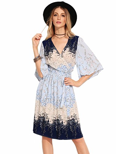 Buy light blue and brown dress - 6