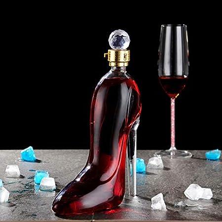 Decantador de whisky - Jarra de vino tinto personalizada de 375 ml, soplada a mano, sin plomo, cristal, botella de vino, tacones altos, decantador, forma de vino, regalo