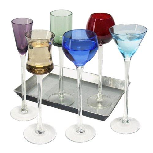 - Coloured Glass, Funky 7 Piece Long Stem Liqueur Set