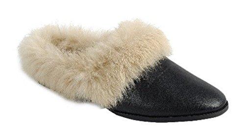 Dev Kvinners Advare Pelsimitasjon Foret Tilfeldig Slip On Flat Flip Flop Moccasion Glide Tøfler Mule Sandale Sko Svart-en