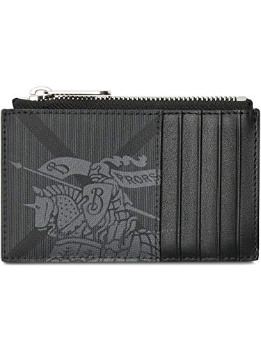 - Burberry Equestrian Knight Print and Leather Zip Card Case Wallet