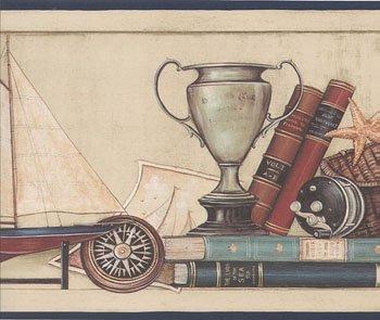 Wallpaper Border David Carter Brown Life By the Sea, Sailboat, Sea Shells, Gull ()