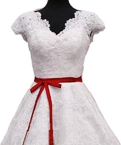 Dell'abito Del Tè Rosso Bianco Delle Donne Bianco Nuziale Fascia Manica Lunghezza Tappo Pizzo E Bkskk xS1v4n