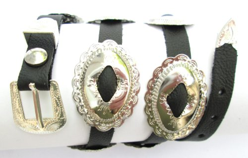 Western Hat Band Black Leather with 10 Oval Scalloped Conchos with 3-pc buckle set (Concho Scalloped)