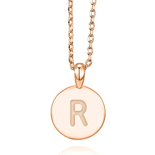(PAVOI 14K Rose Gold Plated R Initial Alphabet Pendant Necklace)
