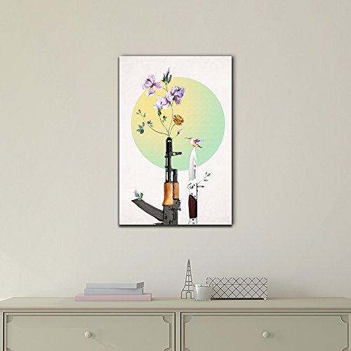 Abstract Art Featuring a Humming Bird Gun and Flowers Peace Concept