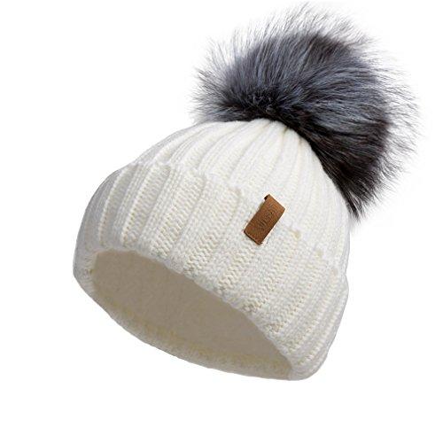 Pilipala Women Knit Beanie Hat with Fur Pompom Slouchy Winter ()