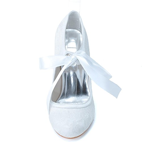 Chaussures Tu Bas Talons White Femmes Court 06 Ball 5623 Ribbon Toe Closed Lace yc L pxw6IOn