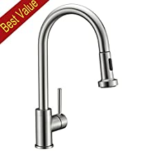 Avola Solid Brass Sink Kitchen Faucet, Brushed Nickel, 1 Lever Handle Pull Out Spout Mixer Tap, Brushed Brass Kitchen Sink Faucets