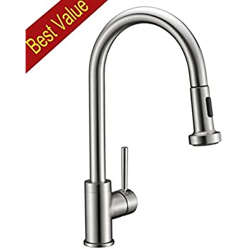This Item Avola Solid Brass Sink Kitchen Faucet, Brushed Nickel, 1 Lever  Handle Pull Down Spout Mixer Tap, Stainless Steel Brushed Brass Kitchen  Sink ...