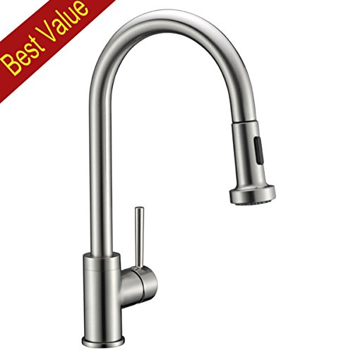 Avola Solid Brass Sink Kitchen Faucet, Brushed Nickel, 1 Lever Handle Pull Down Spout Mixer Tap, Stainless Steel Brushed Brass Kitchen Sink Faucets - Lever Bridge Mixer
